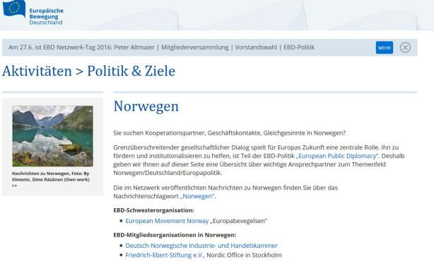 Themenseite zu Norwegen online | European Public Diplomacy auf EBD-Website im Ausbau