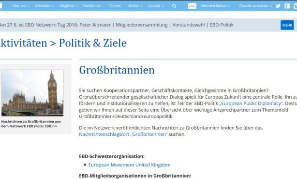 Themenseite zu Großbritannien online | European Public Diplomacy auf EBD-Website im Ausbau