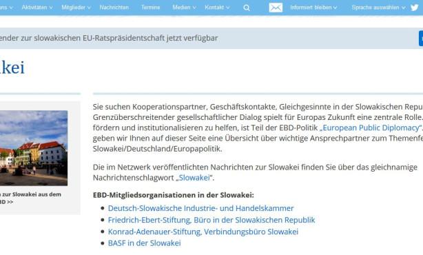 Themenseite zur Slowakei online | European Public Diplomacy auf EBD-Website im Ausbau
