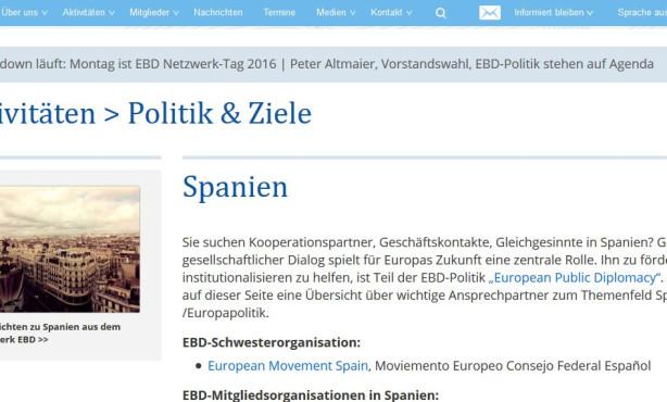 Themenseite zu Spanien online | European Public Diplomacy auf EBD-Website im Ausbau