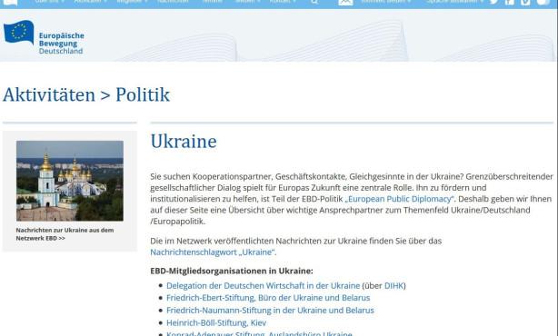 Themenseite zur Ukraine online | European Public Diplomacy auf EBD-Website im Ausbau
