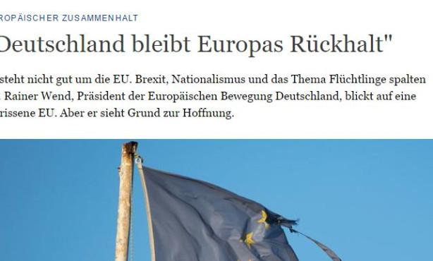 Wend im Deutsche Welle-Interview: Europa, zeige Selbstbewusstsein!