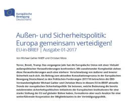 Michael Gahler/Christian Moos: Europa gemeinsam verteidigen! EU-in-BRIEF 01/2017