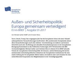 Europa gemeinsam verteidigen! EU-in-BRIEF von EBD-Vorständen Gahler und Moos erschienen