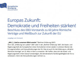 Europas Zukunft: Demokratie und Freiheiten stärken! | EBD-Vorstand zu 60 Jahre Römische Verträge