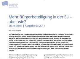 Anne Freidank: Mehr Bürgerbeteiligung in der EU – aber wie? EU-in-BRIEF 03/2017