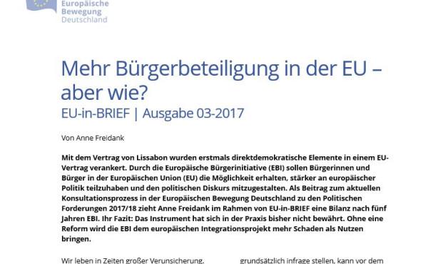 Mehr Bürgerbeteiligung in der EU – aber wie? EU-in-BRIEF zieht Bilanz der EBI