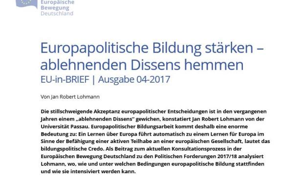 Beitrag zur EBD Konsultation: EU-in-BRIEF zur Europabildung erschienen