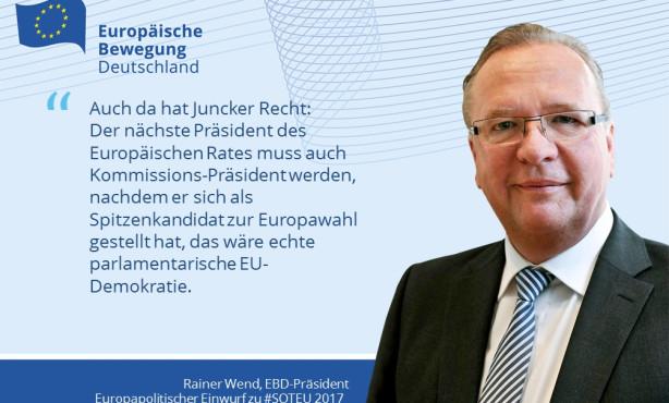 EBD-Präsident Wend: Europa ist zurück! Nun muss Demokratie belebt werden