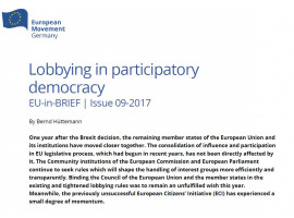 EU-in-BRIEF out now   Lobbying in participatory democracy by Bernd Hüttemann