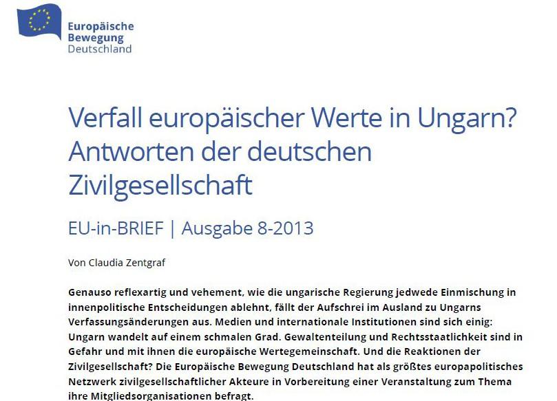 Verfall Europäischer Werte In Ungarn Antworten Der Deutschen