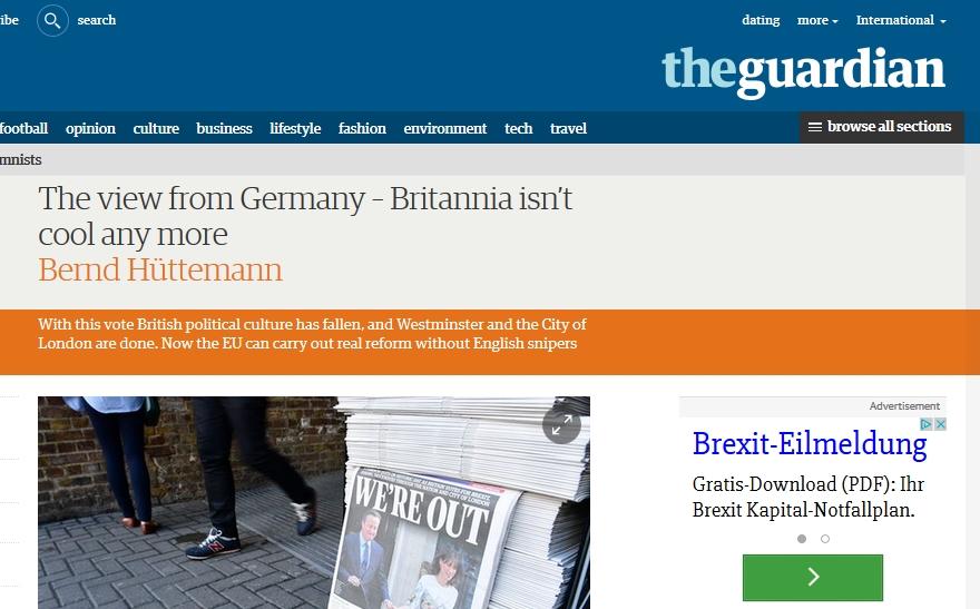 "Britannia isn't cool anymore | Hüttemann kommentiert Brexit im ""Guardian"""