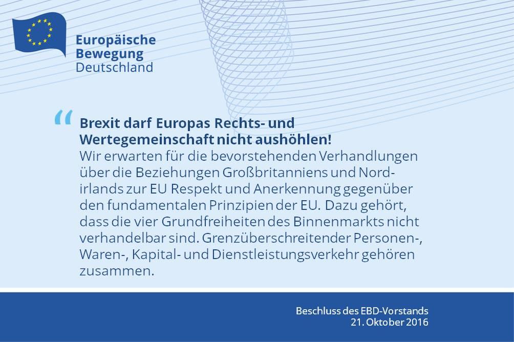 EBD-Vorstand: Brexit darf Europas Rechts- und Wertegemeinschaft nicht aushöhlen