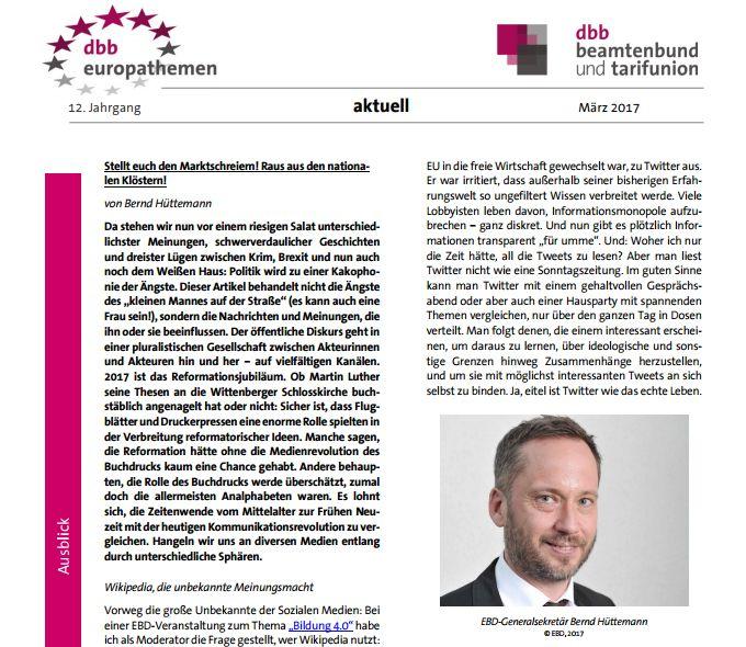 """Medienrevolution 2.0: Bernd Hüttemann in den """"europathemen"""" zu Sozialen Medien in der Politik"""