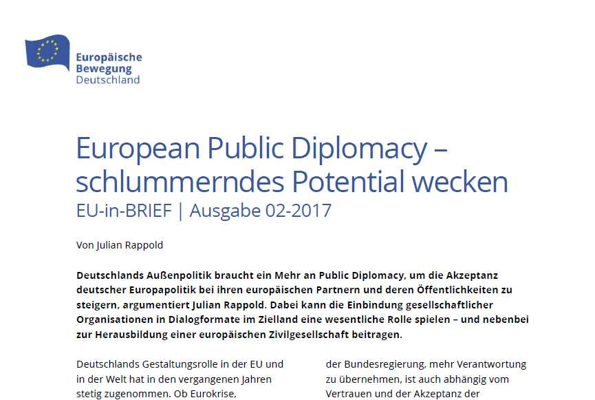 Schlummerndes Potential wecken: EU-in-BRIEF zur European Public Diplomacy erschienen