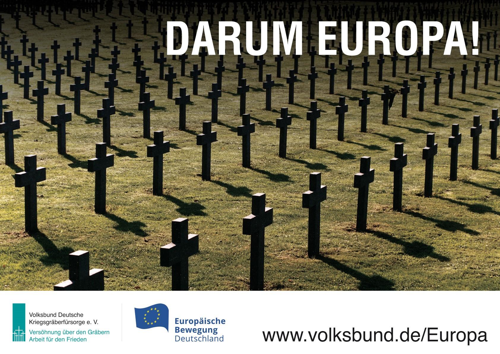 Volksbund | Kampagne in über 1200 Städten: Darum Europa! Kriegsgräber ermahnen zum Frieden