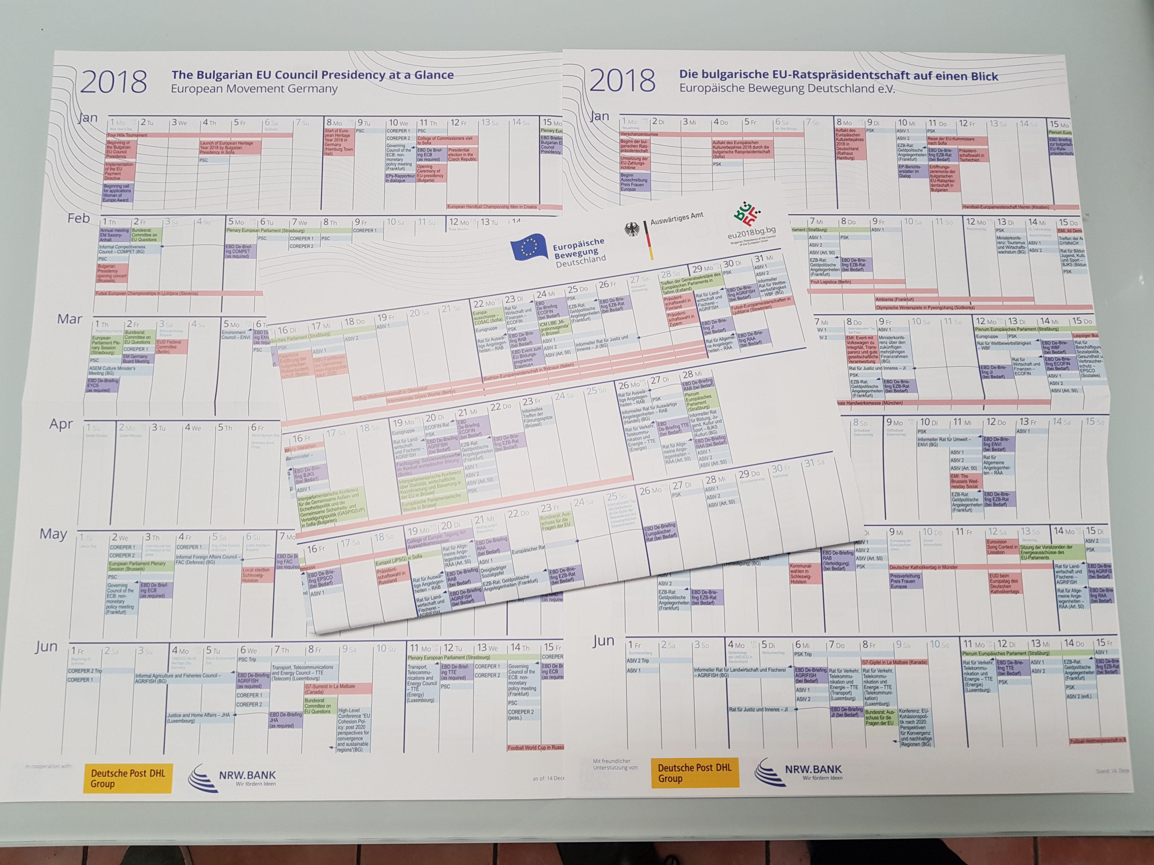 EBD-Kalender zur bulgarischen Ratspräsidentschaft erschienen