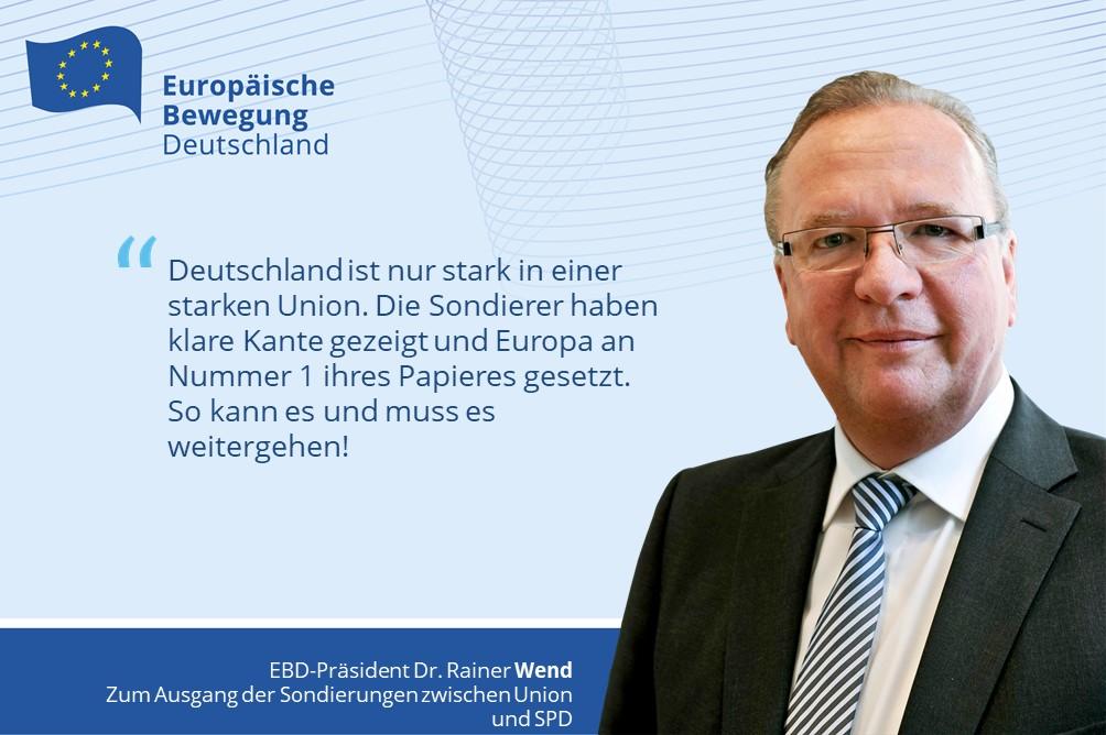 Pressemitteilung | Europäische Bewegung Deutschland zum Ausgang der Sondierungen der CDU/CSU und SPD