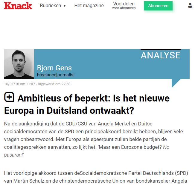 Kommentar zu Sondierungsergebnissen | EBD-Generalsekretär Hüttemann in belgischem Knack-Magazin