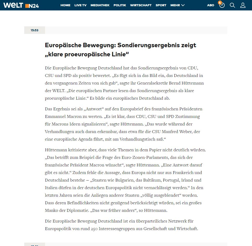 """EBD-Generalsekretär Hüttemann in der WELT   """"Sondierungsergebnis zeigt klare proeuropäische Linie"""""""