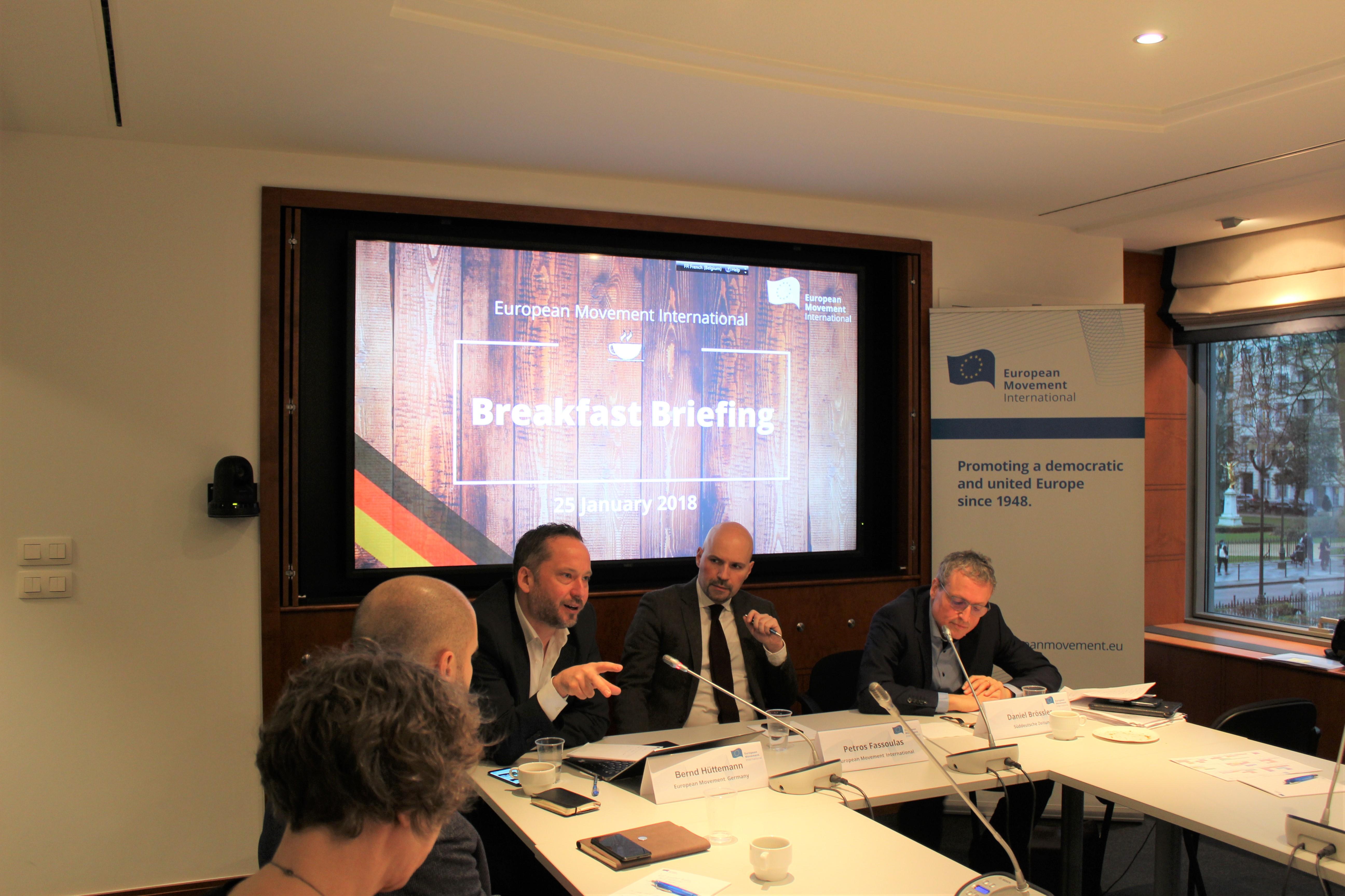 Bernd Hüttemann analysiert Koalitionsverhandlungen bei EMI in Brüssel