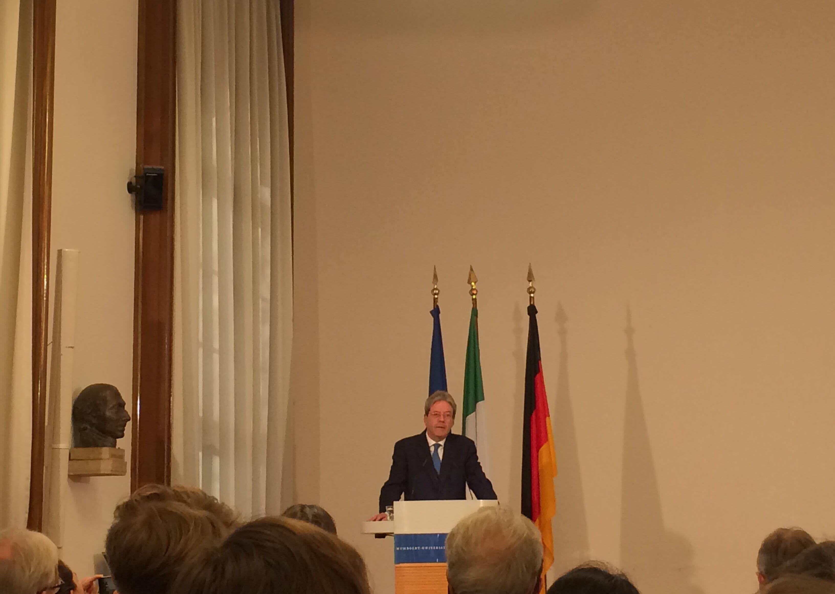 Wir sind Europa!   Humboldt-Rede von Italiens Ministerpräsident Paolo Gentiloni