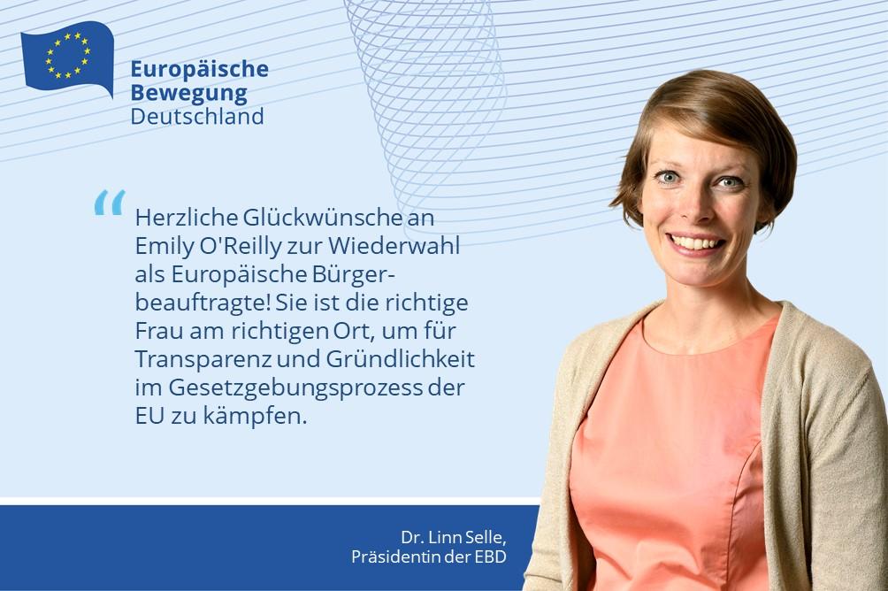 EBD-Präsidentin gratuliert EU-Bürgerbeauftragten Emily O'Reilly
